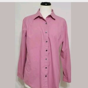 J Jill Womena Button Down Long Sleeve Salmon Shirt
